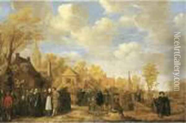 A Village Landscape With Crowds Gathering Around Quack Doctors Oil Painting - Jan Miense Molenaer