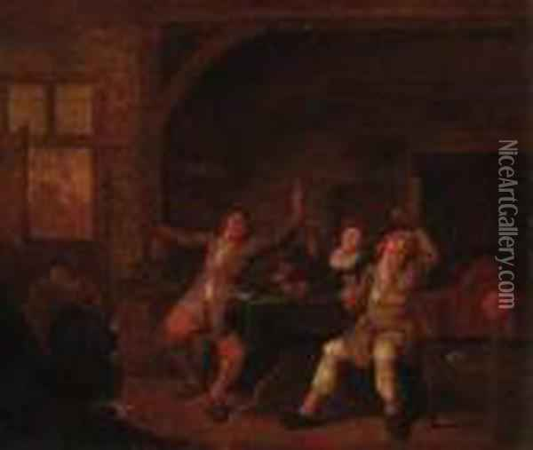 Peasants Merrymaking In An Interior Oil Painting - Jan Miense Molenaer
