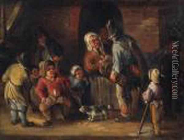 A Hurdy-gurdy Player Conversing With Peasants Outside Acottage Oil Painting - Jan Miense Molenaer