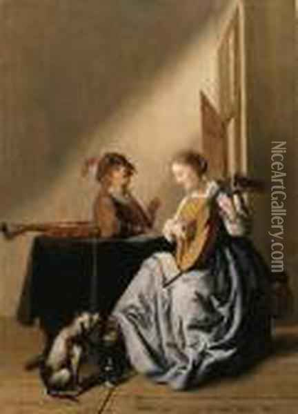 A Young Woman Playing A Lute With A Youth Singing In Aninterior Oil Painting - Jan Miense Molenaer