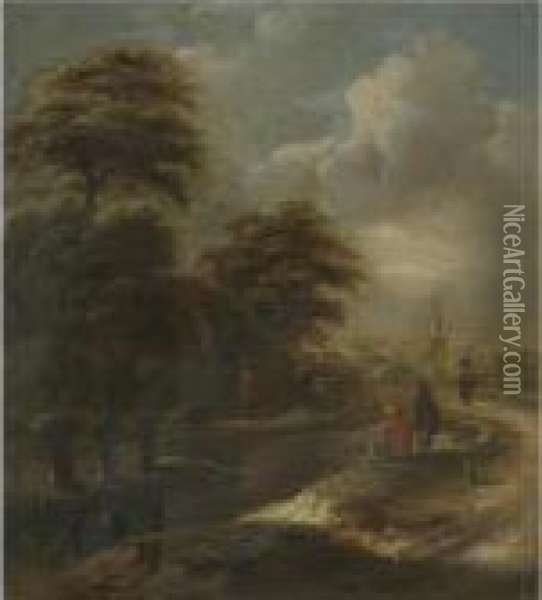 A River Landscape With Figures Fishing Beside A Path Oil Painting - Claes Molenaar (see Molenaer)