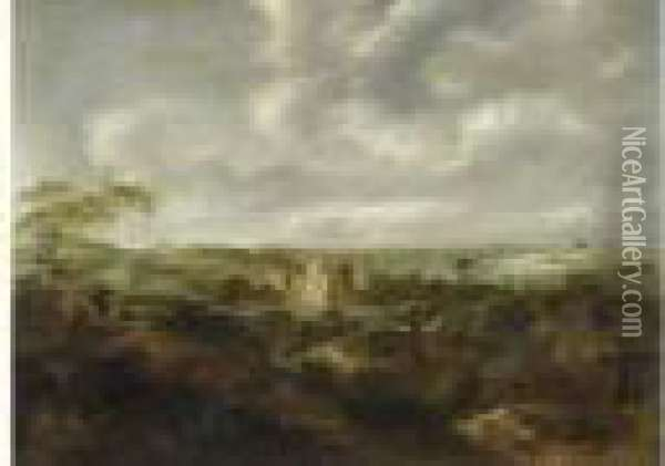 Landscape With View Of Ruins Of Schloss Brederode. Oil Painting - Claes Molenaar (see Molenaer)