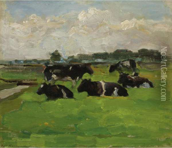 Polder Landscape With Group Of Five Cows Oil Painting - Piet Mondrian