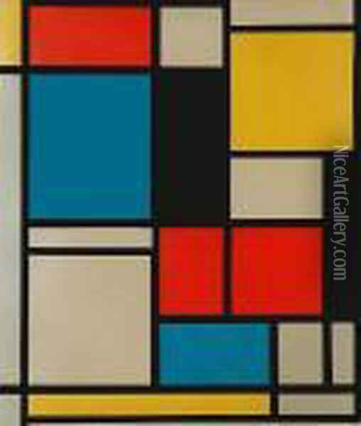 Composition In Blue, Red And Yellow Oil Painting - Piet Mondrian
