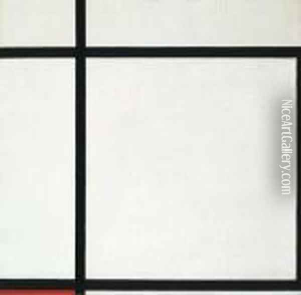 Composition Ii, With Red (composition In A Square) Oil Painting - Piet Mondrian
