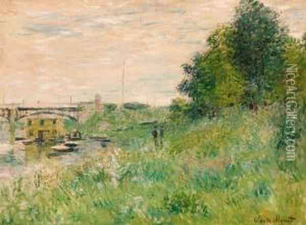 Les Bords De La Seine Au Pont D'argenteuil Oil Painting - Claude Oscar Monet