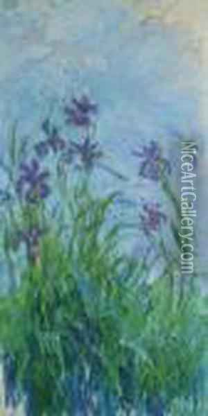Iris Mauves Oil Painting - Claude Oscar Monet