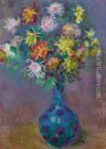 Vase De Chrysanthemes Oil Painting - Claude Oscar Monet