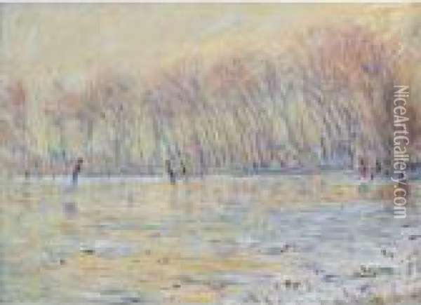 Les Patineurs A Giverny Oil Painting - Claude Oscar Monet