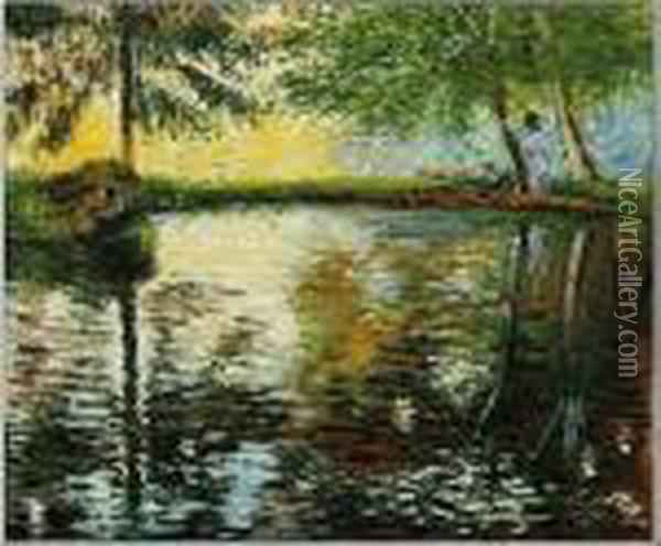 Monet - The Pond At Montgeron Oil Painting - Claude Oscar Monet