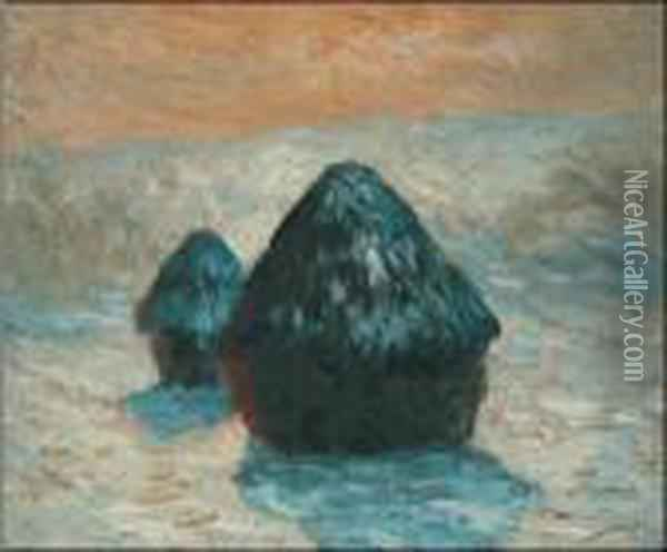 Grain Stack, Snow Effect (morning) Oil Painting - Claude Oscar Monet