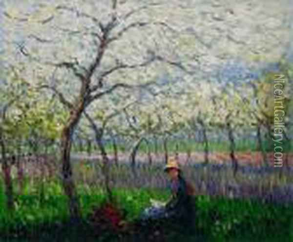 An Orchard In Spring Oil Painting - Claude Oscar Monet