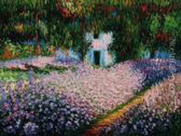 Artist's Garden At Giverny Oil Painting - Claude Oscar Monet