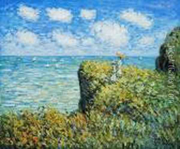 Cliff Walk At Pourville Oil Painting - Claude Oscar Monet