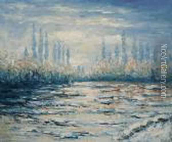 Floating Ice Near Vetheuil Oil Painting - Claude Oscar Monet