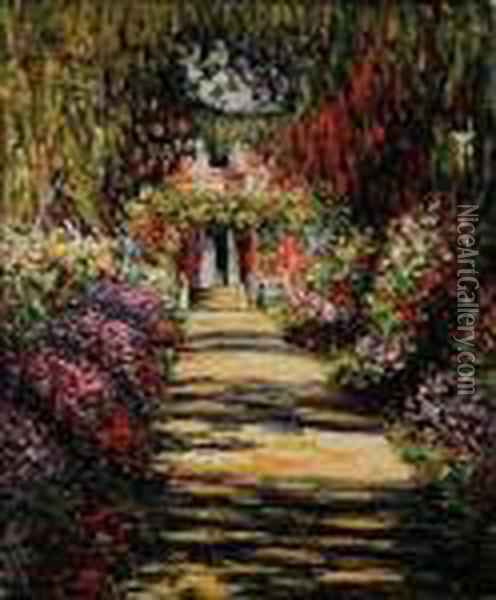 Garden Path At Giverny Oil Painting - Claude Oscar Monet