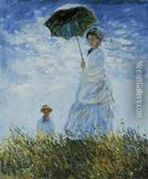 Madame Monet And Her Son Oil Painting - Claude Oscar Monet