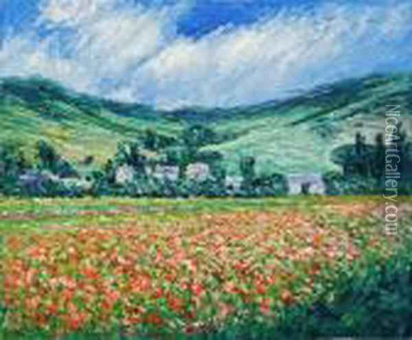 Poppy Field Near Giverny Oil Painting - Claude Oscar Monet