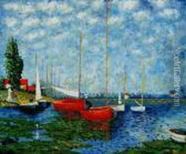Red Boats At Argenteuil Oil Painting - Claude Oscar Monet