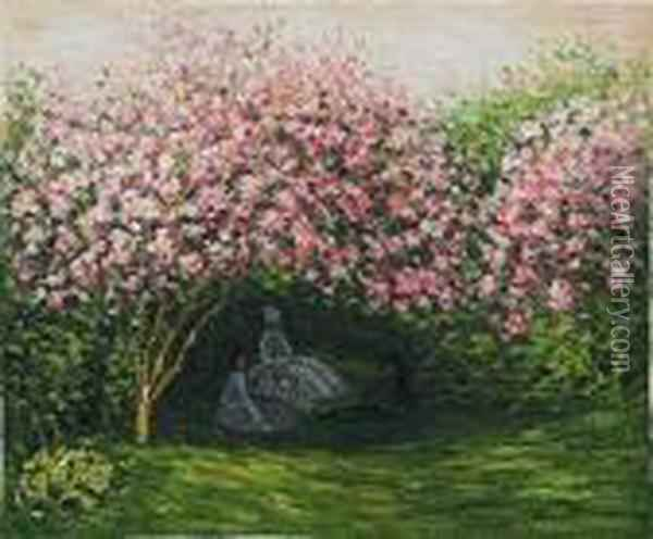 Resting Under The Lilacs Oil Painting - Claude Oscar Monet