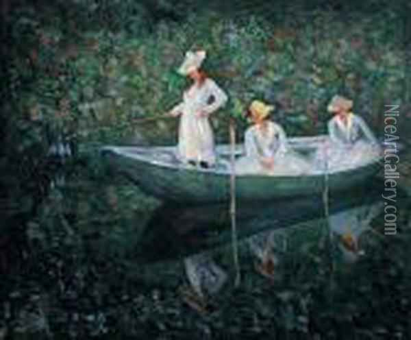 The Boat At Giverny Oil Painting - Claude Oscar Monet