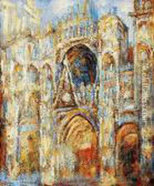 The Cathedral In Rouen, The Portal, Harmony In Blue Oil Painting - Claude Oscar Monet
