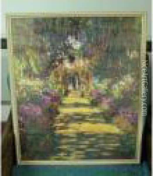 Garden Path And Water Lilies Oil Painting - Claude Oscar Monet
