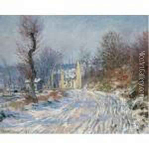 Route De Giverny En Hiver Oil Painting - Claude Oscar Monet