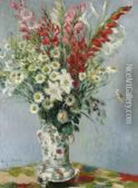 Bouquet De Glaieuls, Lis Et Marguerites Oil Painting - Claude Oscar Monet