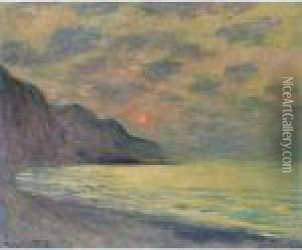 Soleil Couchant, Temps Brumeux, Pourville Oil Painting - Claude Oscar Monet