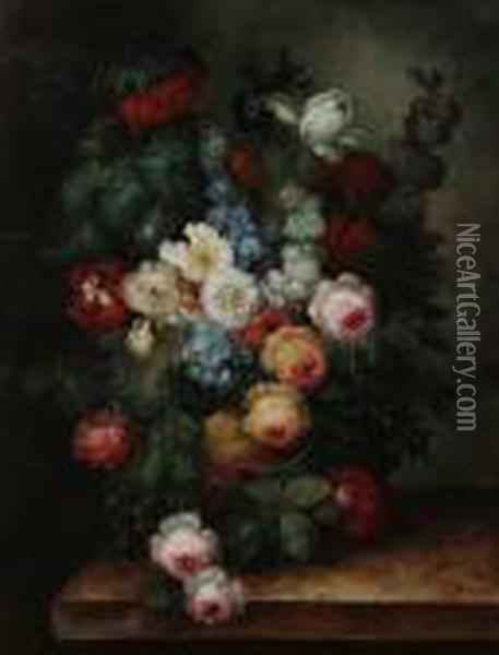Flowerpiece Of Roses, Tulips,  Iris, Speedwell In An Urn On A Ledge, Together With Another Similar With  Fruit Oil Painting - Jean-Baptiste Monnoyer