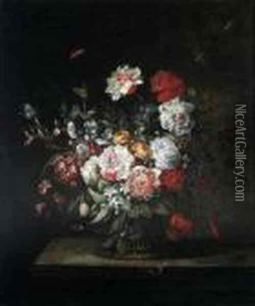 A Study Of Flowers In A Basket On A Shelf With Butterflies Andmoths Oil Painting - Jean-Baptiste Monnoyer