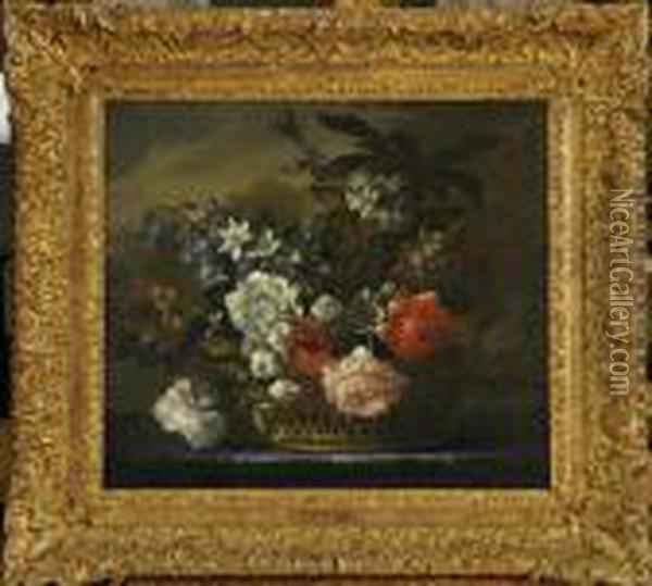 Still Life Of Mixed Flowers In A Basket Oil Painting - Jean-Baptiste Monnoyer