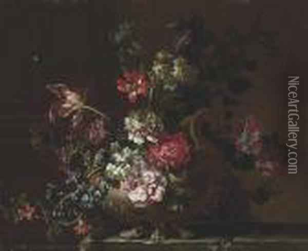 Peonies, Narcissi, Tulips,  Hyacinths And Other Flowers In Ateracotta Urn On A Stone Table Oil Painting - Jean-Baptiste Monnoyer
