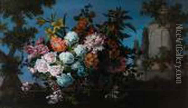 Chrysanthemums, Lilies,  Honeysuckle And Otherflowers In A Wicker Basket, On A Stone Ledge Before  A Park Landscape Oil Painting - Jean-Baptiste Monnoyer