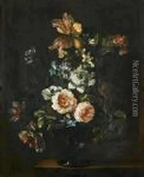 Roses, Tulips, Chrysanthemums And Other Flowers In A Glass Vase On A Stone Ledge Oil Painting - Jean-Baptiste Monnoyer
