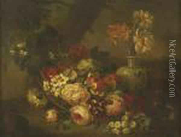 Garden Roses In A Blue Vase By A Basket Of Picked Blooms Oil Painting - Jean-Baptiste Monnoyer