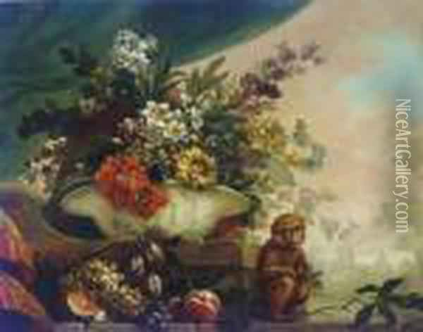 Flowers In A Porcelain Bowl, A Melon, Grapes And Other Fruit On A Ledge, With A Monkey Oil Painting - Jean-Baptiste Monnoyer