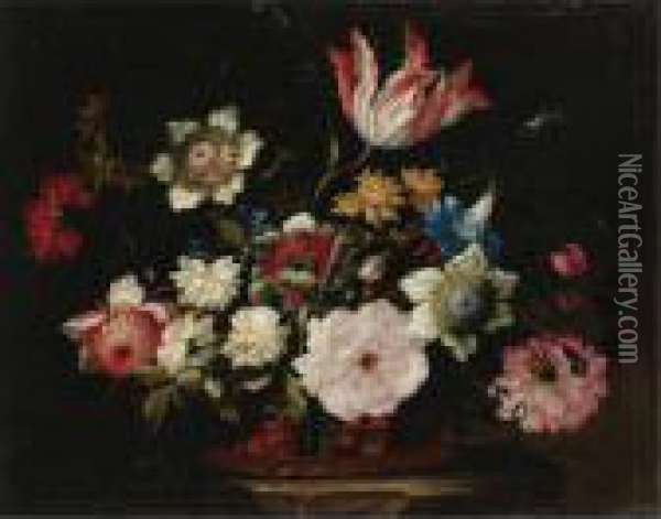 Still Life With Flowers In A Basket Oil Painting - Jean-Baptiste Monnoyer