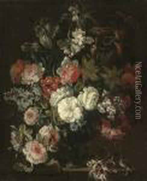 Roses, Chrysanthemums, An Iris, Dianthus And Other Flowers In Anurn On A Stone Ledge Oil Painting - Jean-Baptiste Monnoyer
