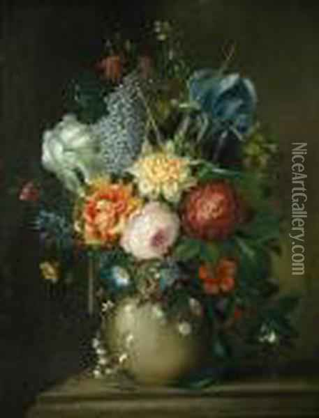 Still Life Of Roses Oil Painting - Jean-Baptiste Monnoyer