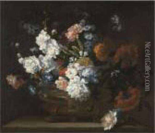 A Still Life Of Flowers  Including Peonies, Carnations, Poppies And Auriculae In A Bronze Urn On A  Stone Ledge Oil Painting - Jean-Baptiste Monnoyer