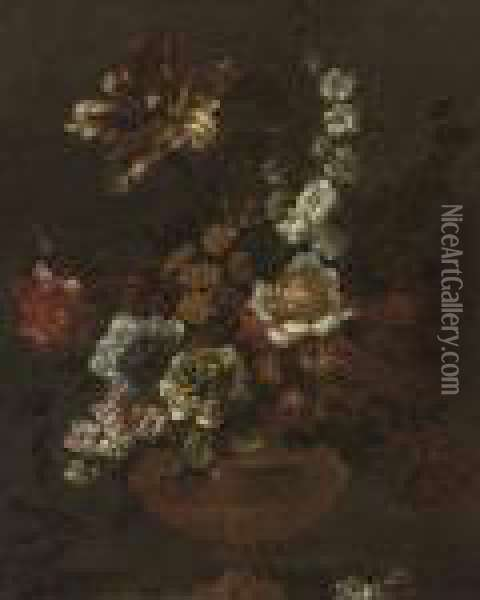 A Parrot Tulip, Chrysanthemums,  Stock, Primula, And Other Flowers In A Sculpted Urn On A Ledge Oil Painting - Jean-Baptiste Monnoyer