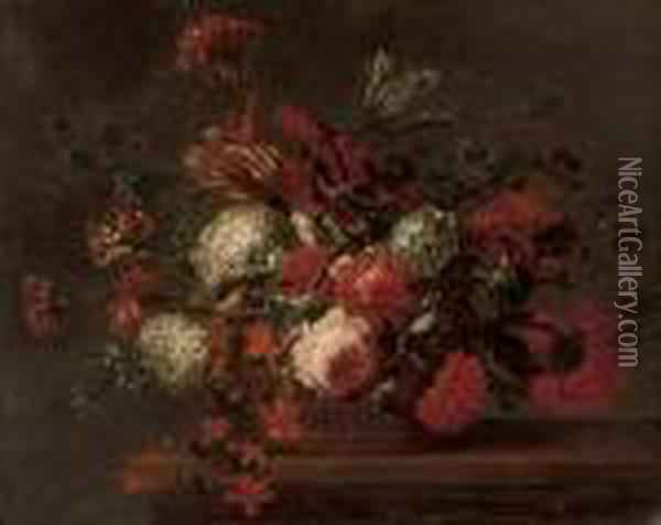 Roses, Carnations, Tulips, Morning Glory And Other Flowers In A Basket On A Ledge Oil Painting - Jean-Baptiste Monnoyer