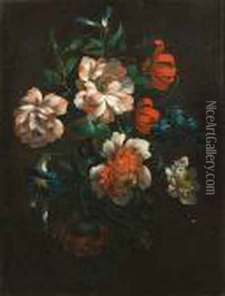 Chrysanthemums, Morning Glory, Lilies And Other Flowers In A Swag Oil Painting - Jean-Baptiste Monnoyer