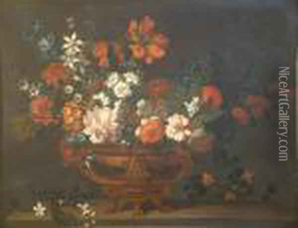 French Oil On Canvas Still Life Of Flowers In A Brass Urn, On A Ledge 30 X 39in Oil Painting - Jean-Baptiste Monnoyer