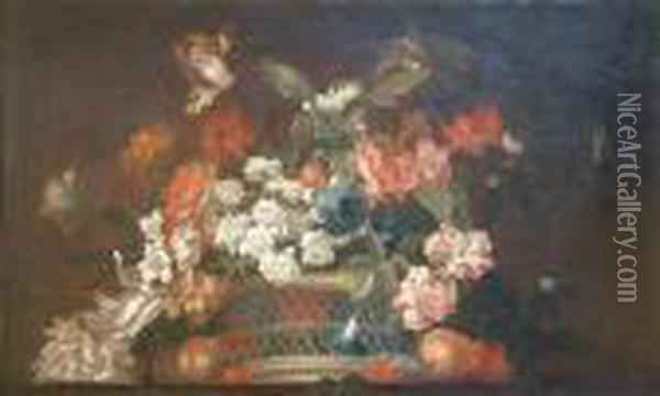 Still Life Of Flowers In A Basket Painted As A Sur Portiere Oil Painting - Jean-Baptiste Monnoyer