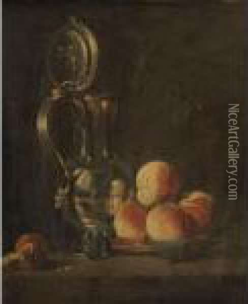Still Life Of Fruits And A Silver Pitcher Oil Painting - Jean-Baptiste Monnoyer