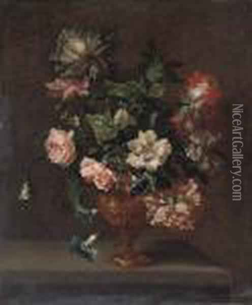 Roses, Peonies And Convulvulus In A Sculpted Urn On A Stone Ledge Oil Painting - Jean-Baptiste Monnoyer