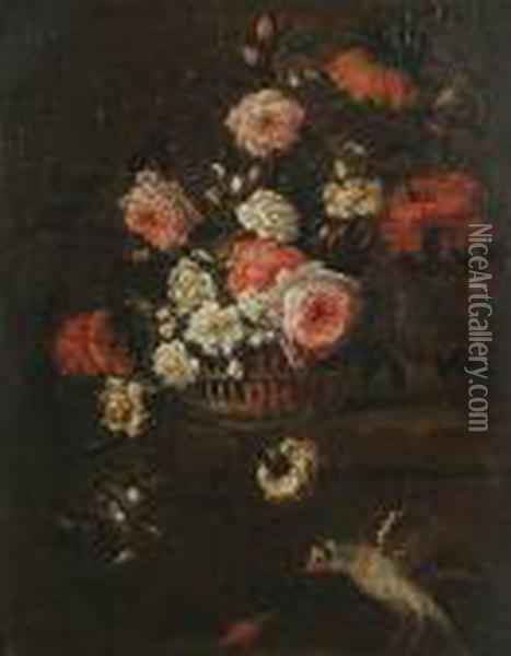 Still Life Of Roses And Other  Flowers In A Basket On A Ledge, With A Goldfinch And A Beetle. Oil Painting - Jean-Baptiste Monnoyer